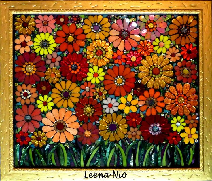 Mosaic Flowers Seamless Pattern Background Royalty Free Cliparts ...