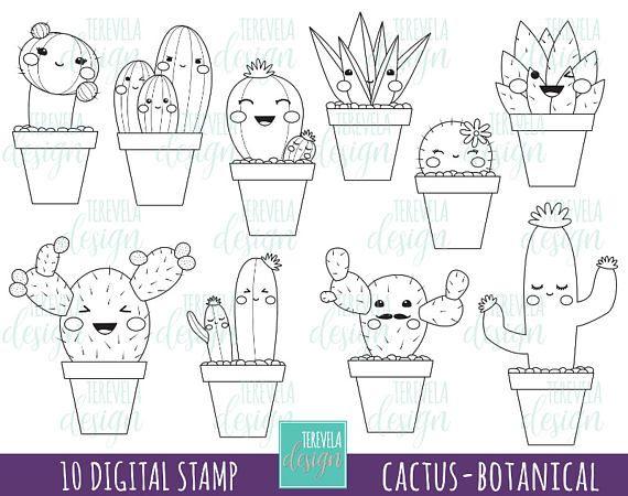 Cactus Stamp Digi Stamp Commercial Use Kawaii Stamp Etsy Cactus Stamp Digi Stamp Coloring Pages