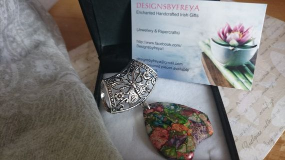 Semi-precious stone scarf pendant on antique by Designsbyfreya1