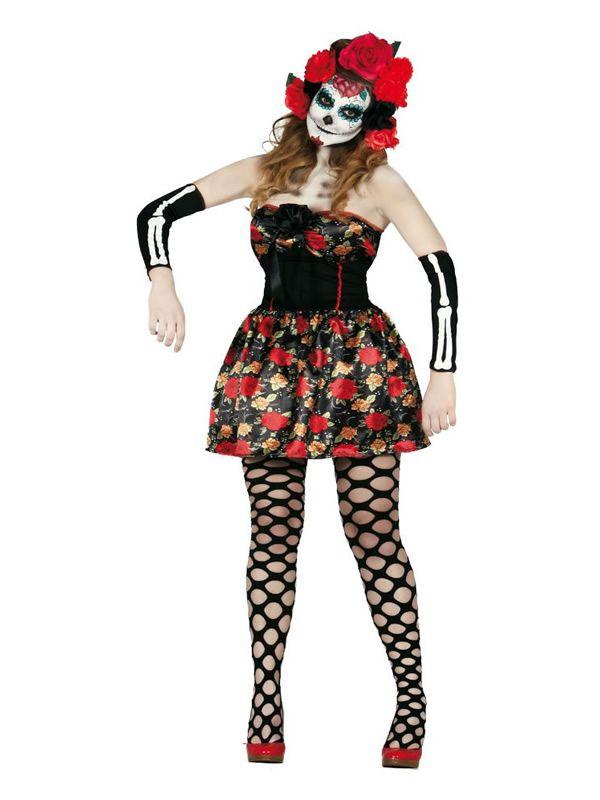 El disfraz de catrina para mujer, incluye Diadema de flores, vestido y manguitos en DisfracesMimo.com