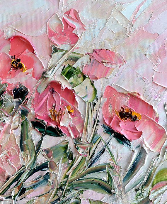 Flower Wall Canvas Flower Oil Painting Art Decor Abstract Palette Knife Painting Textured Painting Impasto Painting Red Field Pink Tulip