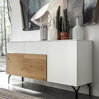 Ultramodern white and wooden sideboard 'Carolyn'. Beautiful, perfect for every environment. High quality materials. My Italian Living