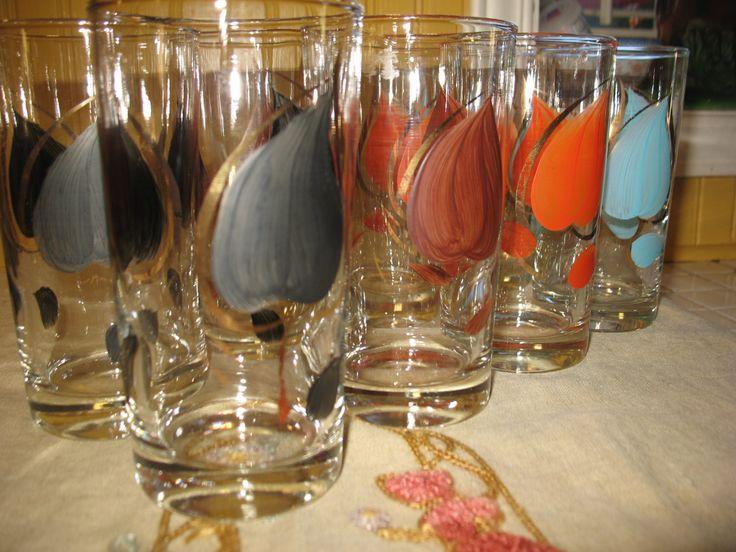 Vintage 8 grand verre a eau ou a jus feuille bordure d'or rétro 1960/70 de la boutique NorDass sur Etsy