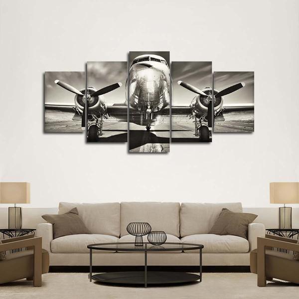 Retro Airplane Multi Panel Canvas Wall Art In 2021 Airplane Wall Decor Airplane Wall Art Vintage Airplane Wall Decor