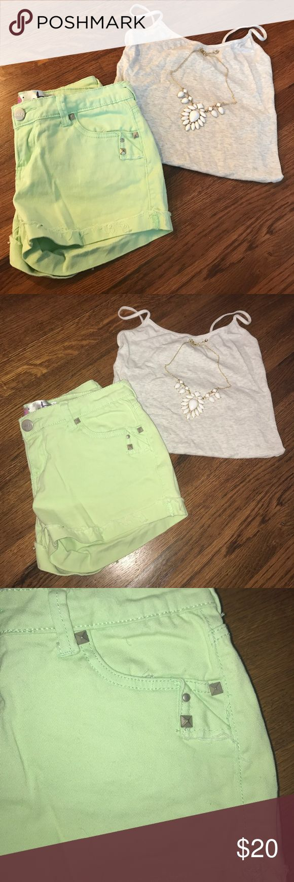 Mint green Jean Shorts Mint green Jean Shorts. Worn only a handful of times and in great condition. Has some stud detailing Shorts Jean Shorts