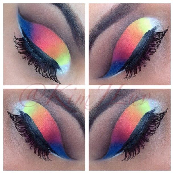 ✰ Rainbow CutCreased products used: NYX eyeshadow base in white, Sleek acid palette for the white in inner corner, Coastal Scents Creative me Palette #1 for the rest of the colors(Yellow, Orange,Pink) Ruby kisses brown eyeliner to cut the crease, Palladio Liquid Eyeliner brand lashes. ✰ @kimjluv