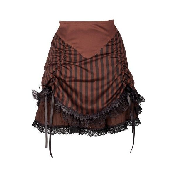 Brown Striped Explorer Rouched Skirt ❤ liked on Polyvore featuring skirts, striped skirt, gothic skirt, gathered skirt, chiffon skirt and layered skirt