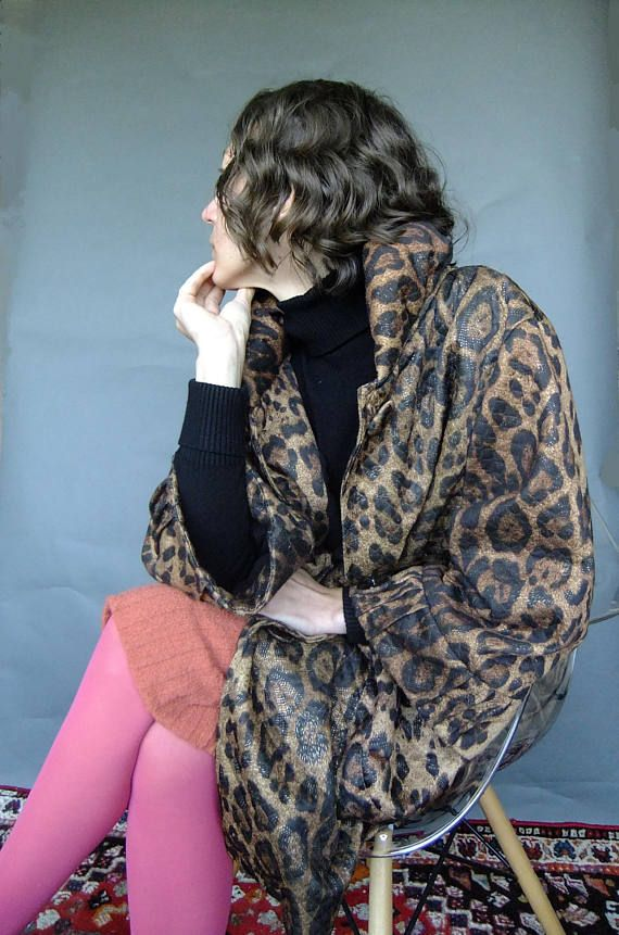 quilted leopard print coat swing coat 80s animal print coat