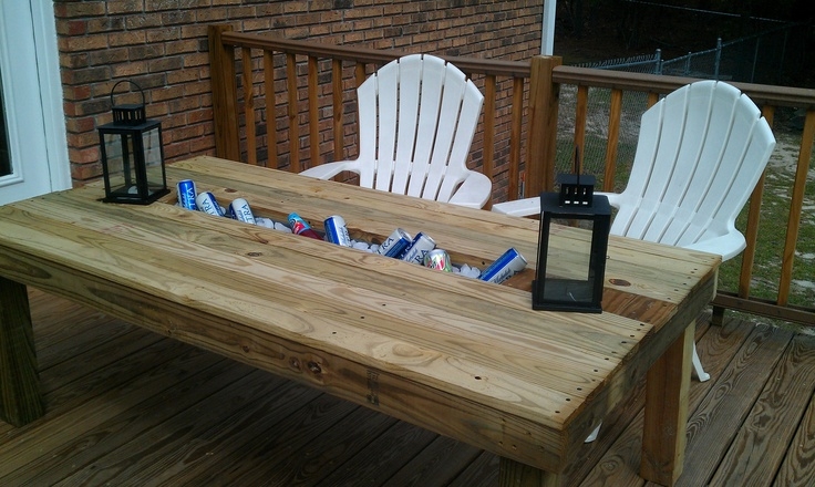 Outdoor table with built in cooler crafts pinterest Picnic table with cooler plans