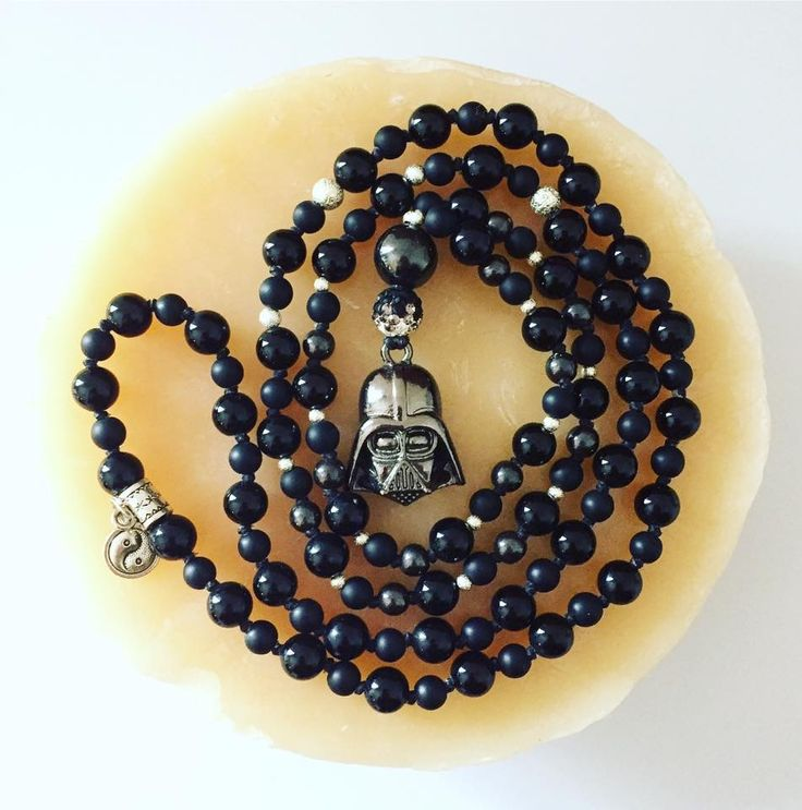 "108 bead Darth Vader Mala in 6/8mm Matte Agate, Black Onyx and Magnetic Hematite.  Hangs at 19.5"" $90 plus shipping   Throat hug, anyone?  #StarWars #DarthVader #TheDarkSide #ThroatHug #AnakinSkywalker #TheForce #Stones #Gemstones #Mala #108beads #Agate #Onyx #Hematite #HandKnotted #Handmade #Mantra #Meditation #MeditationBeads #Necklace #Jewellery #Jewelry #CanadianDesigner #JediJewellery"