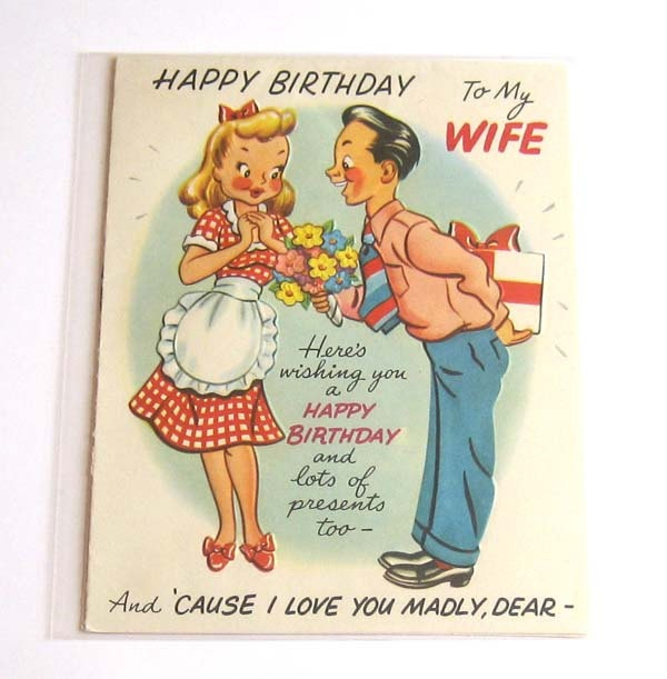 Vintage birthday card happy to my wife