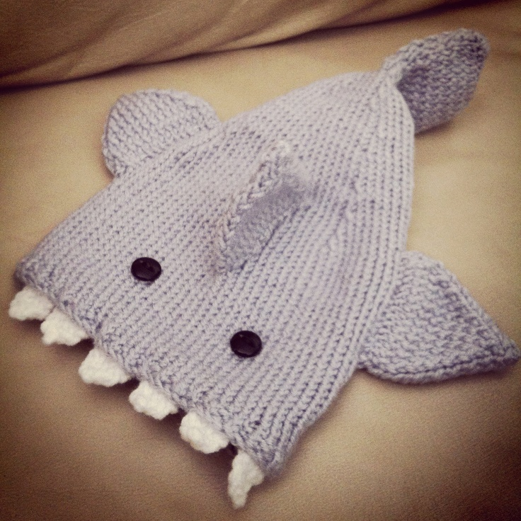 Knitted Baby Beanie Hat Shark. $18.00, via Etsy.