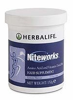 Niteworks® is a food supplement high in amino acid, l'argininie, vitamins c and e as well as folic acid.  Developed by Herbalife with Professor Louis Ignarro (Nobel Laureate) good for a healthy heart. More details can be found by clicking on the targeted nutrition tab on www.herbalenergyforyou.info