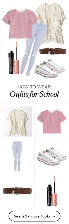 """First day of school outfit"" by eemaj on Polyvore featuring American Eagle Outfitters, Topshop, RED Valentino, D&G, Converse and Benefit"