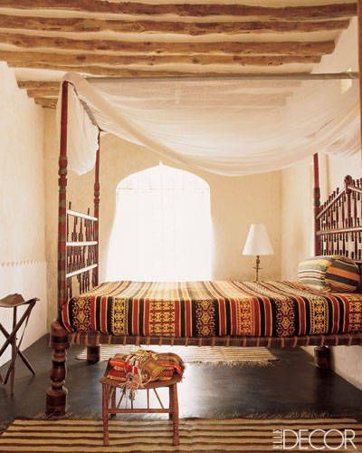 African Adventure - ELLE DECOR  Love the patterns in this room. The raw wooden planks on the ceiling gives it a down to earth feel.: Decor, Interior, Idea, Inspiration, Beds, Bedroom Design, Bedrooms, Sweet Dream