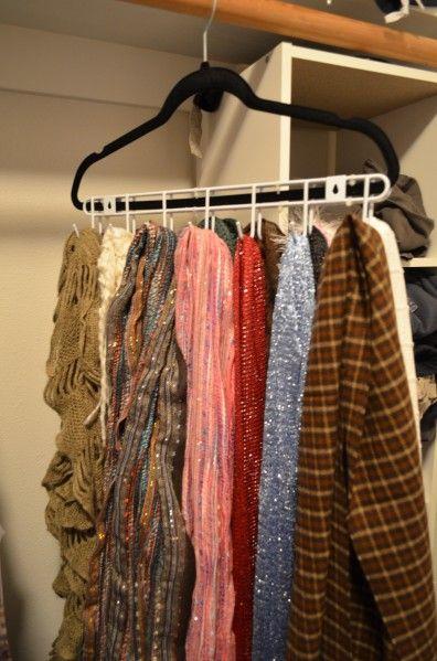 Tutorial: Scarf or Belt Closet Hanger (Dollar Store supplies)