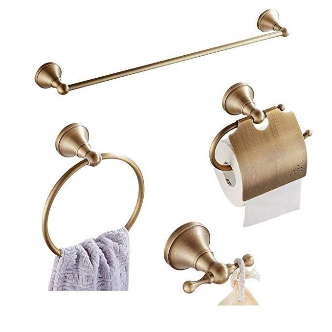 Wincase Antique Brass Polished 4 Piece Bath Accessory Set Bathroom Hardware Set In Retro Brass Bathroom Accessories Bathroom Hardware Set Bath Accessories Set