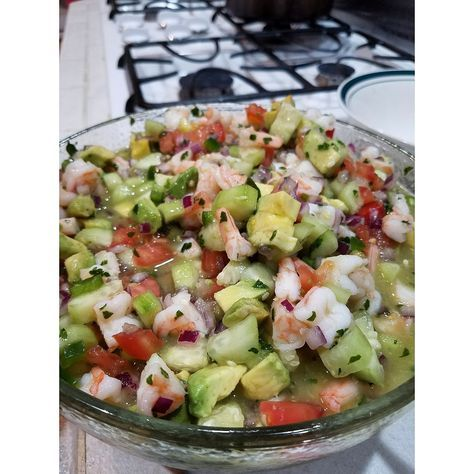 This recipe is from the Jicama Grill, I think this is the best Shrimp Ceviche recipe in the world...it is like a colorful fiesta in a bowl.