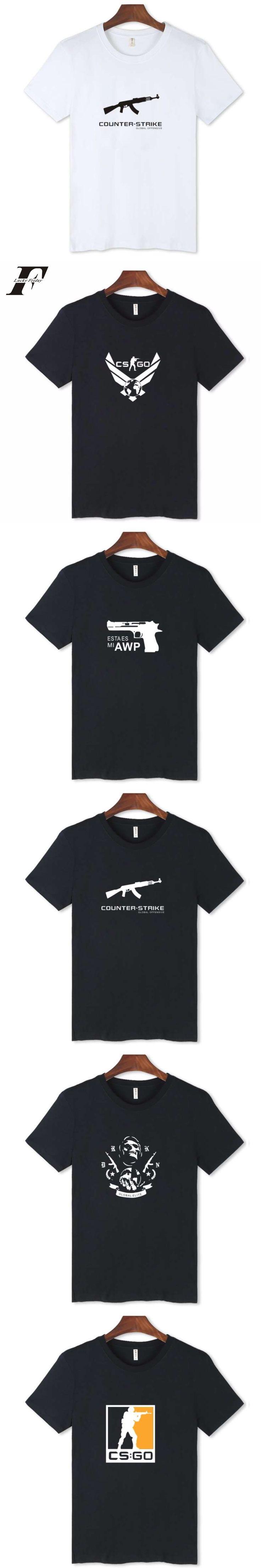 LUCKYFRIDAY CSGO Trendy Black Short Sleeve cs go T Shirt Funny T-shirts Men tshirt Streetwear Mens  Cotton t shirts Tees tops