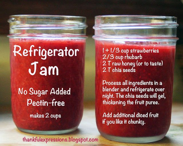 Strawberry-Rhubarb Refrigerator Jam: No pectin, no canning, no refined sugar or artificial sweeteners.