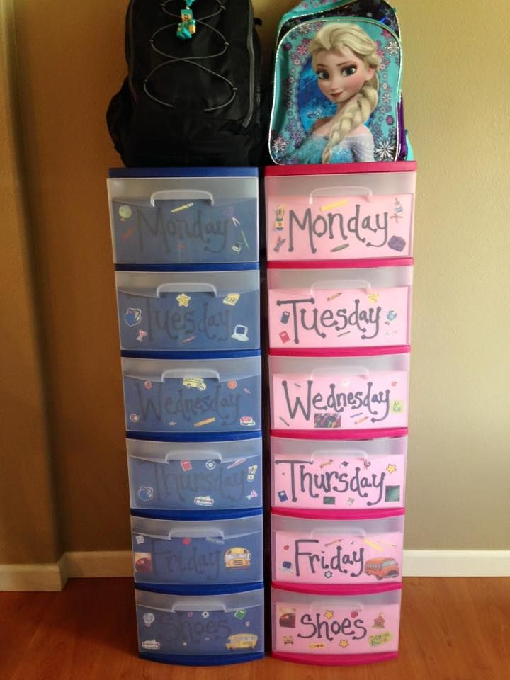 Monday-Friday School Outfits + a place to put their shoes & backpack!  Containers from Wal-mart. 2 Blue & 2 Pink, $9.97 each. They are (2) 3 drawers that will snap together when you take the top piece off to make a whole 6 drawer tower.  I taped paper with the weekdays on the inside of the drawers and let the kids add school stickers. These can easily be changed  if you want to use them for something different later. -Kortney Brady