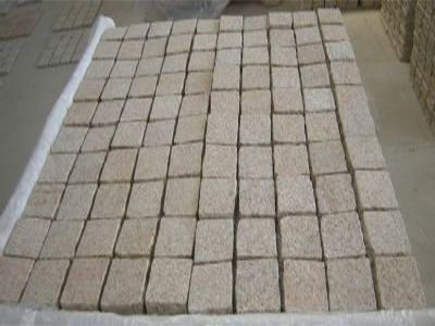 Golden Sand Flamed Granite Cobblestones on mesh sheets 500x500x25mm or 35mm thick