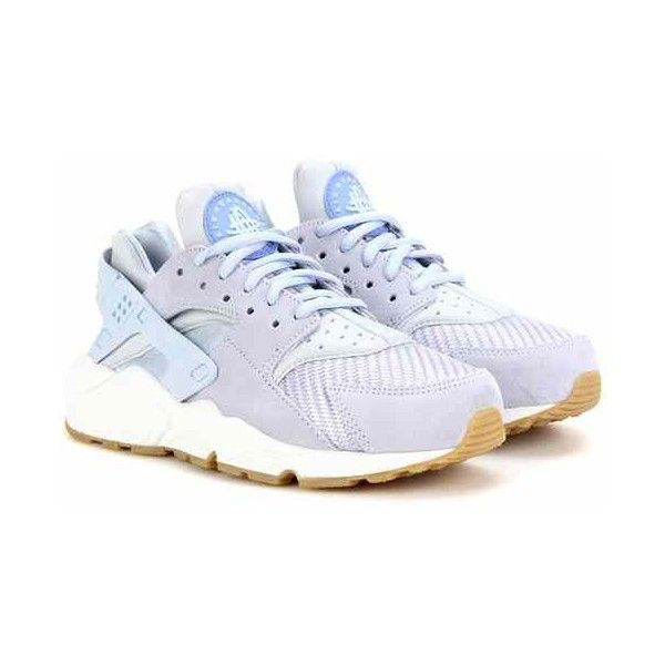 Nike Nike Air Huarache Run Txt Sneakers ($145) ❤ liked on Polyvore featuring shoes, sneakers, nike sneakers, nike trainers, nike footwear, light blue shoes and light blue sneakers