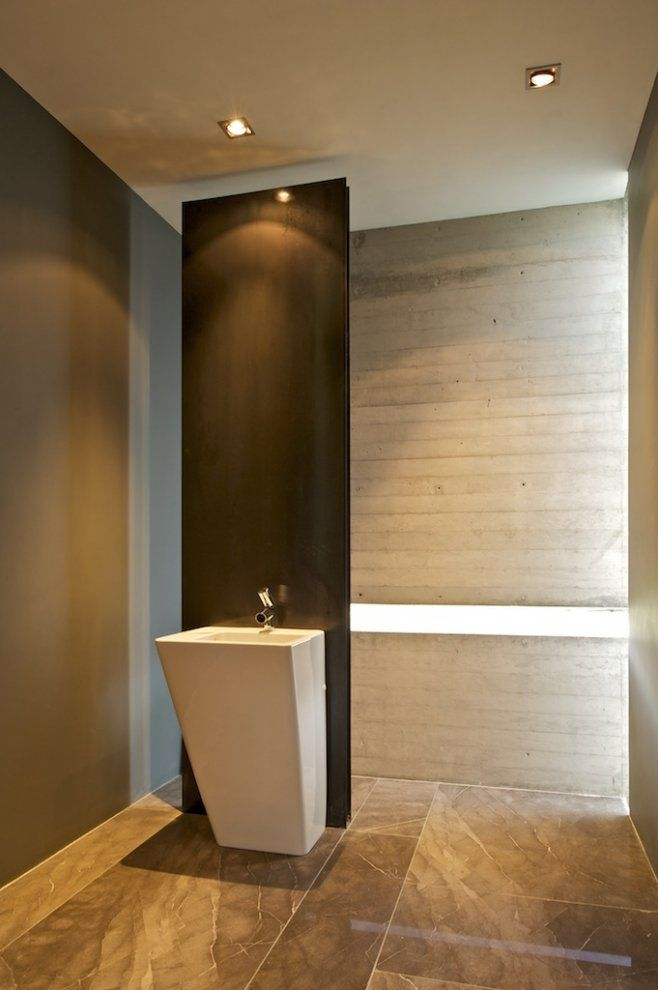 Cool! Concrete wall and concrete bath tub :-)