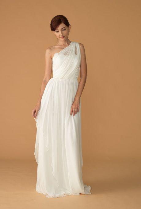 "Brides: Love, Yu - Spring 2013. ""Reverie"" organza A-line wedding dress with a sheer one-shoulder strap, Love, Yu"