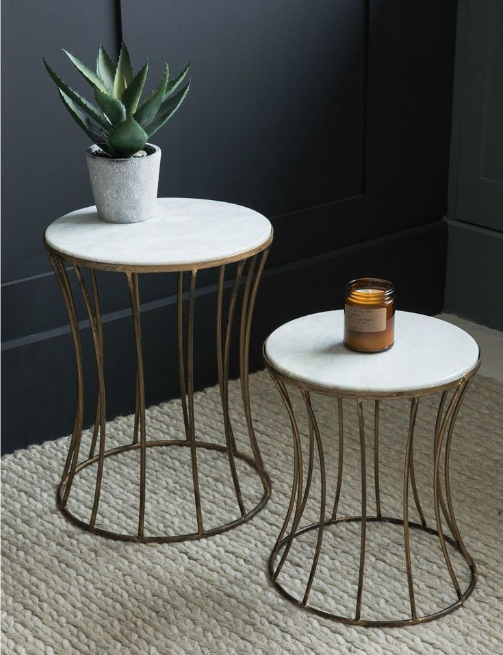 White Marble Drum Side Table at Rose & Grey