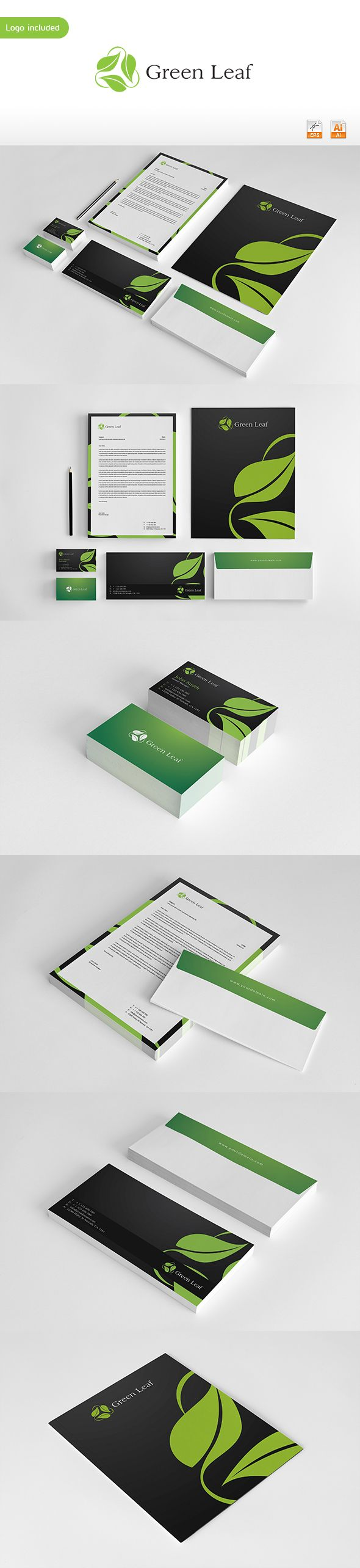Green Leaf Corporate Identity - Repinned by www.BlickeDeeler.de