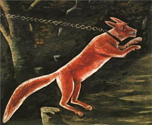 Niko Pirosmani (Georgian: 1862-1918) | Fox on chain
