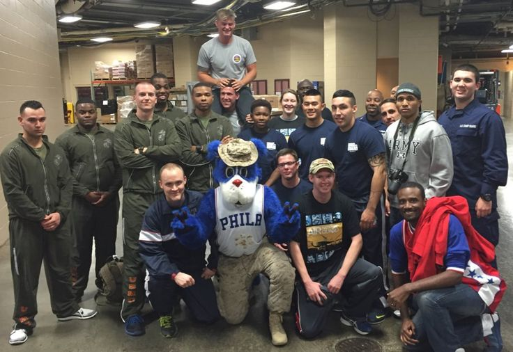 The Sixers support the Army, Marine Corps, Air Force and Coast Guard. #HoopsForTroops