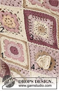 "Like A Wildflower - Crochet DROPS blanket in ""Paris"". - Free pattern by DROPS Design"