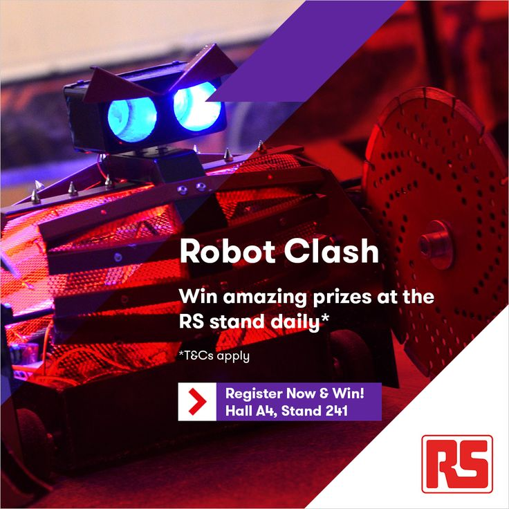 Visit our stand where you have the chance to battle robots daily. You could be the reigning champion and win a range of fantastic prizes! #RSele16 #RobotClash ~ele16