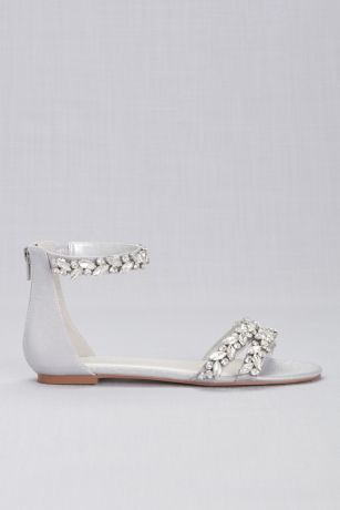 f0578ded9 Jeweled Metallic Ankle Strap Flat Sandals