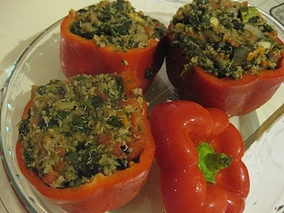 Red peppes stuffed with quinoa, black beans and sauteed vegetables.