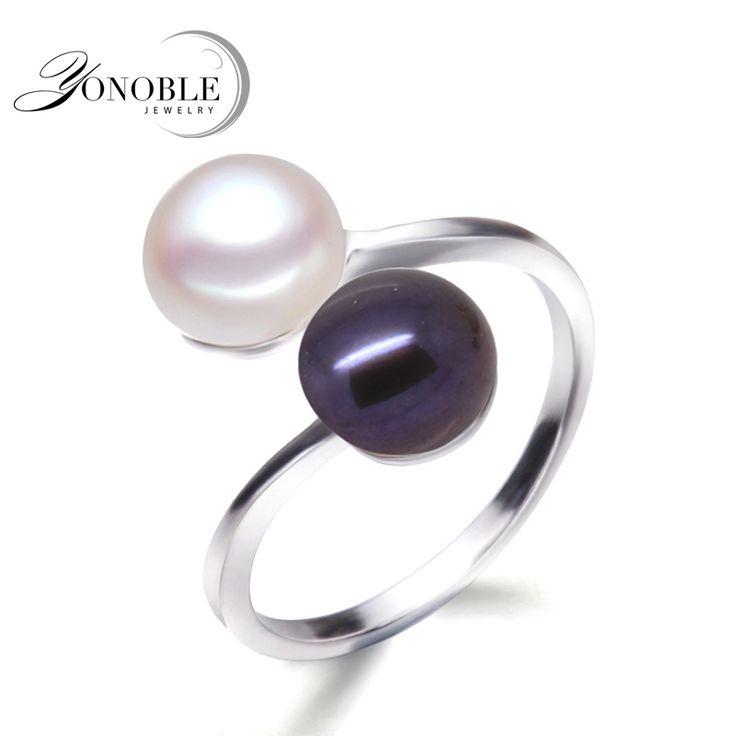 Zwarte parel ringen voor vrouwen natuurlijke dubbele parel heren ring 925 zilveren trouwringen met parel engagement meisje verjaardag geschenken