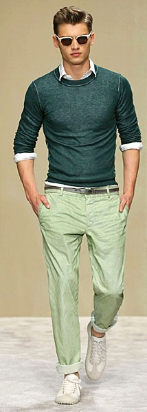 Green sweater, cuffed pants and white button down shirt with sunglasses.  Spring outfit.