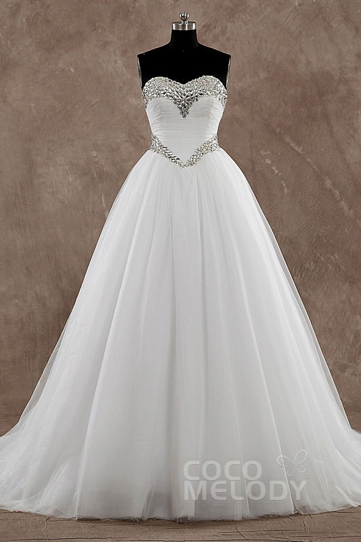 Sweet Princess Sweetheart Basque Train Tulle Ivory Sleeveless Wedding Dress with Crystal LD3571 #weddingdresses2016 #cocomelody