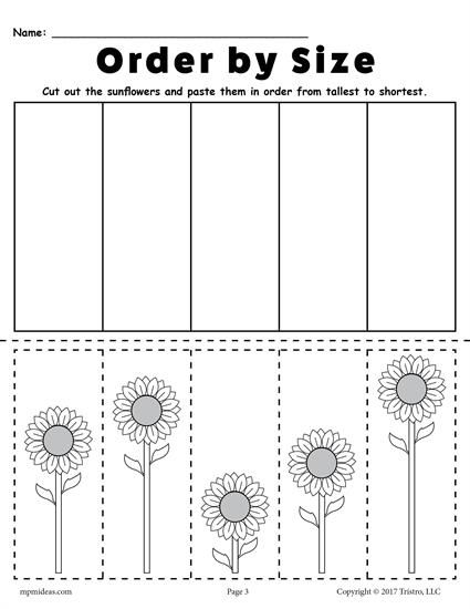 FREE Printable Sunflower Ordering Worksheets: Shortest to ...