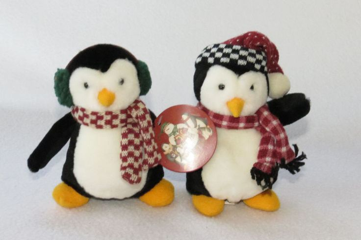 "2 Lot 6"" Debbie Mumm Penguin Plush Hugsy 1999 Mummford McFinn Joey Friends Toy #Mervyns #friends"