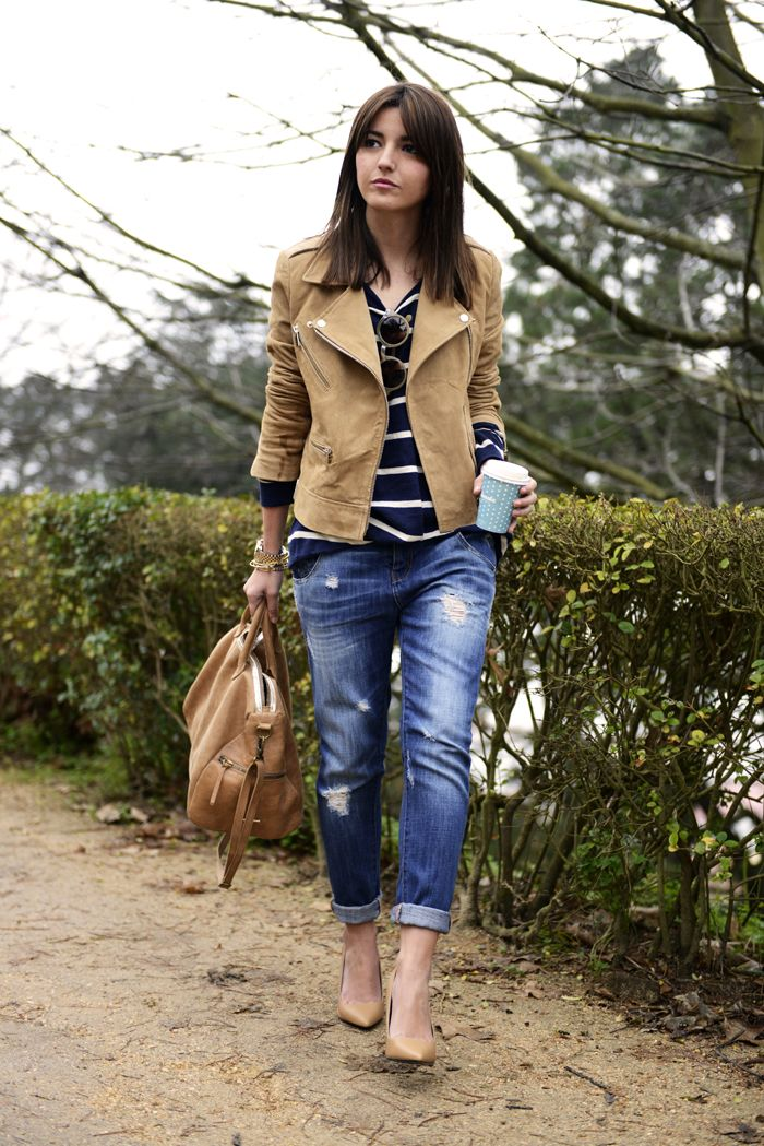 keep it simple - camel and stripes