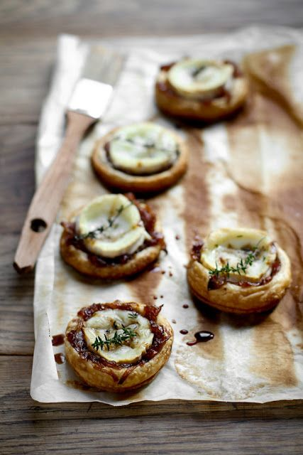 goat cheese + caramelized onions tartelettes.