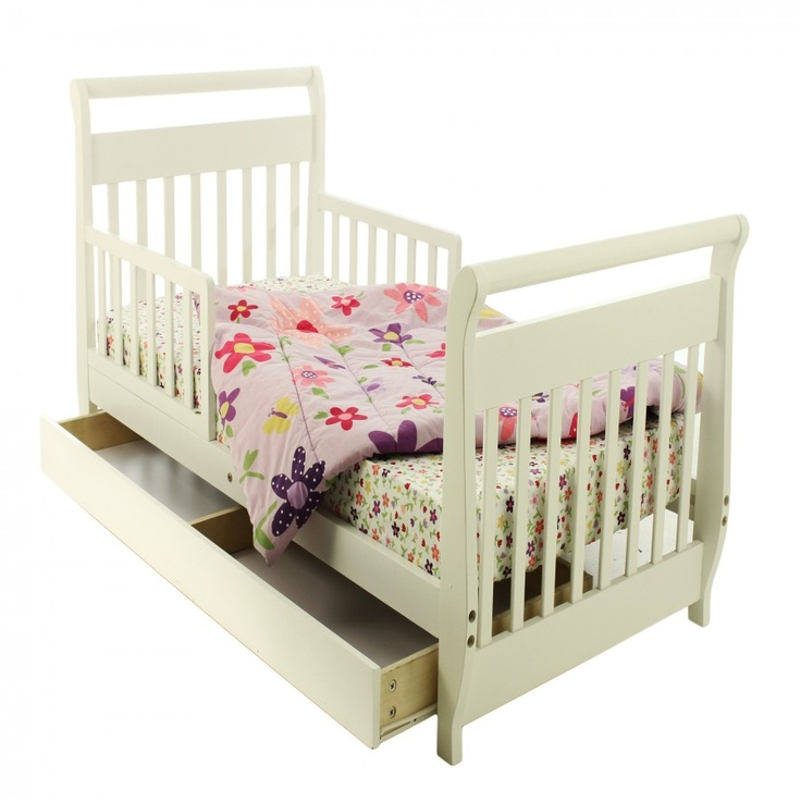Dream On Me Sleigh Toddler Bed With Trundle In White
