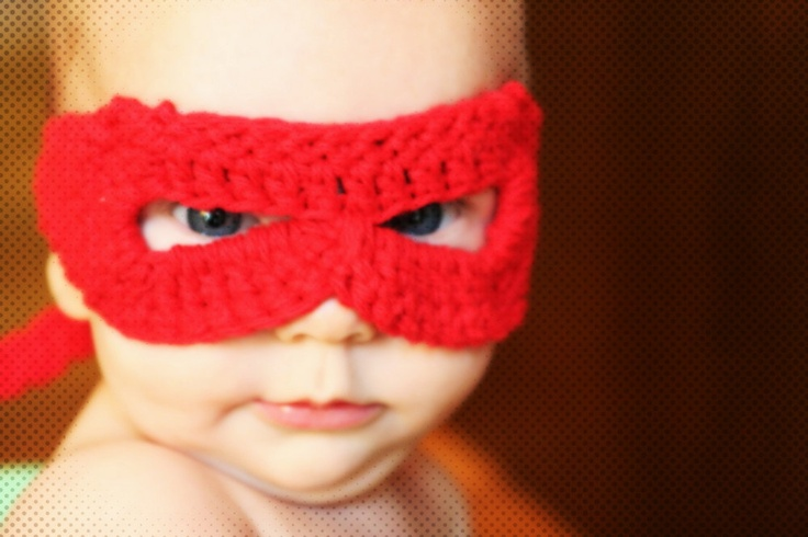 crocheted red superhero mask for infants by yourmomdesigns.