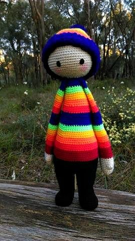 Rainbow Doll...Front.   Project information and pattern link here;   http://www.ravelry.com/projects/LindaDavie/lalylala-paul-the-toadstool-15
