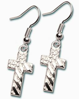 Uplifting soothing cross earrings adorned with the American flag, empowering you to renew your spirit. Cast from a hand-sculpted artisan's model, and glowing with the warmth of jewelers' silver bronze. Attach with stylish fish-hook posts.