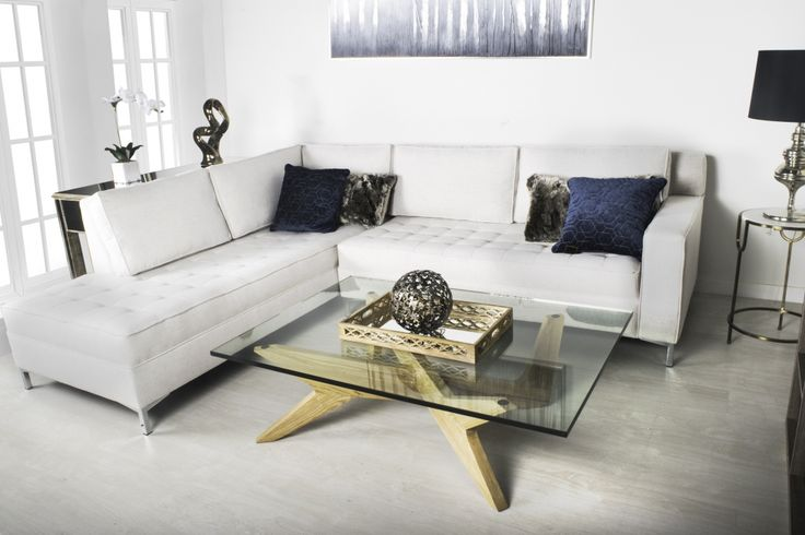 The Grant Sofa Sectional in Bamboo Beige Fabric.  Made in Canada and built to last.  By Kavuus.com