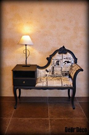 Old School Phone banquette. Tres chic but hardly anyone has phone that would accompany this stand. Funny. Love it tho.